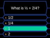 Decimals and fractions millionaire quiz