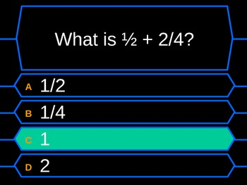 Decimals and fractions millionaire quiz