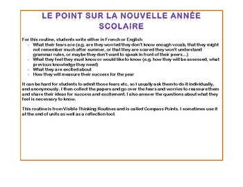 Thinking routine for the start of the year in French + English (2 documents)