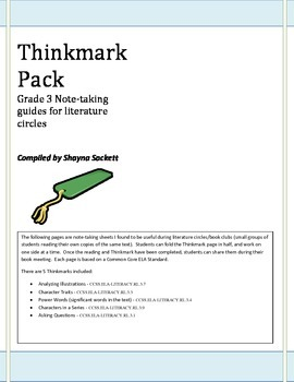 Thinkmarks for 3rd Grade Literature Circles/Book Clubs