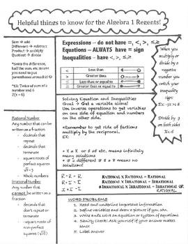 Algebra Regents Review Worksheets & Teaching Resources | TpT