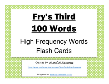 Third 100 Fry Sight Words Flash Cards