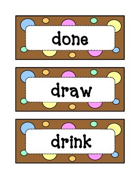 Third 3rd Grade Dolch Sight Word Wall - Dots & Pastel, Chocolate Brown Theme