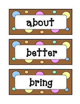 Third 3rd Grade Dolch Sight Word Wall - Dots & Pastel, Cho