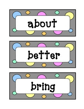 Third 3rd Grade Dolch Sight Word Wall - Dots & Pastel, Grey Theme