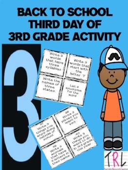 Third Day of Third Grade Activity