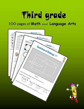 Third Grade:  100 pages of Math and Language Arts