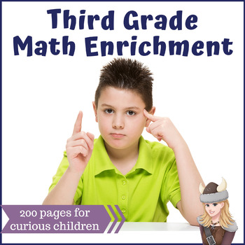 Third Grade 3 Math Enrichment Packets Challenge All Year Long! MEGA BUNDLE