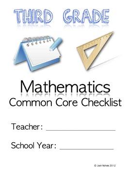 Third Grade (3rd Grade) CCSS Common Core Checklist and Report Document