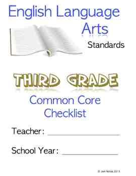 Third Grade (3rd Grade) CCSS ELA Checklist and Report Document Common Core