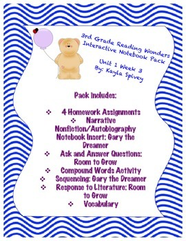 Third Grade (3rd Grade) Reading Wonders Interactive Notebook Unit 1 Week 3