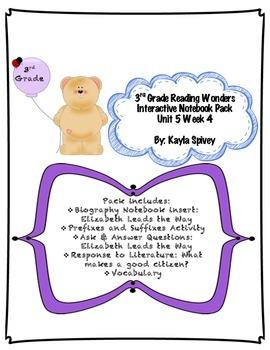 Third Grade (3rd Grade) Reading Wonders Interactive Notebook Unit 5 Week 4