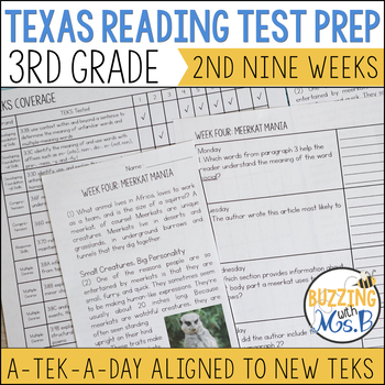 Third Grade A TEK-a-Day Reading Test Prep & Review, 2nd Nine Weeks