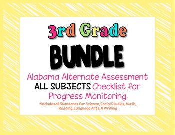 Third Grade  AAA ALL SUBJECTS BUNDLE Checklist Progress Monitoring