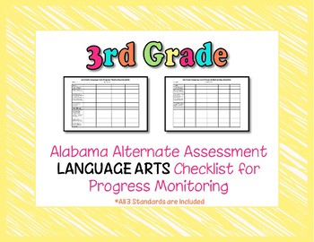 Third Grade AAA Language Arts Checklist Progress Monitoring