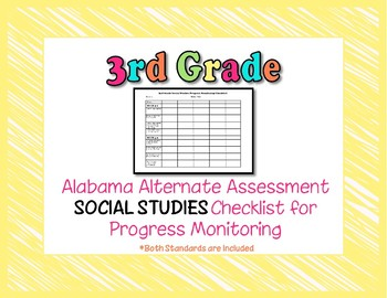 Third Grade AAA Social Studies Checklist Progress Monitoring
