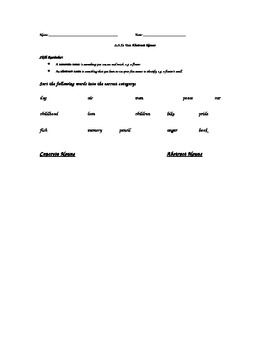 Third Grade Abstract Nouns Quiz (Common Core Standard)