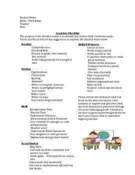 Third Grade Academic Checklist