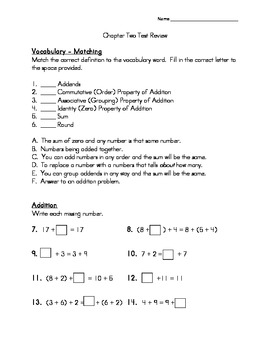 Third Grade Addition Number Sense REVIEW