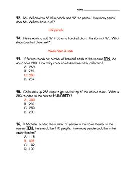 Third Grade Addition Number Sense TEST