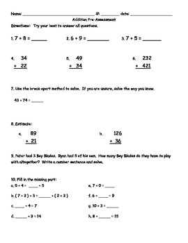 Third Grade Addition Pre-Assessment