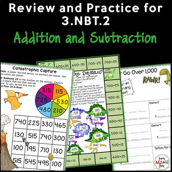 Addition Subtraction Games Activities - Within 1000 - Dinosaur Theme