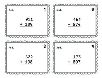 Third Grade Addition Task Cards