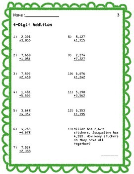 Third Grade Addition and Subtraction Practice