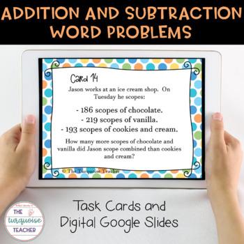 Third Grade Addition Subtraction Task Cards/ Google Classroom 3.NBT.A.2 TEKS 3.4