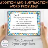 Third Grade Addition Subtraction Task Cards/ Google Classroom Slides No Prep