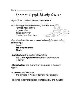 Third-Grade Ancient Egypt Quiz Assessment & Study Guide