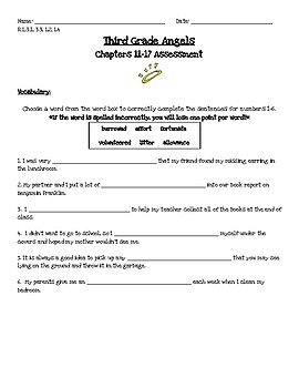Third Grade Angels Comprehension Assessment-Chapters 11-17