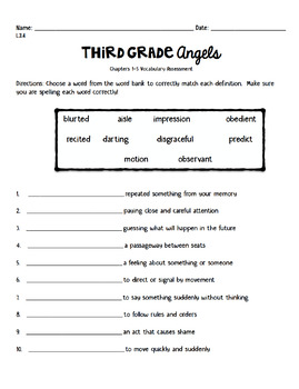 Third Grade Angels Vocabulary Assessments