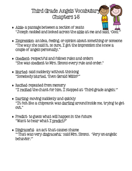 Third Grade Angels Vocabulary-Chapters 1-5