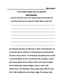 Third Grade Angels by Jerry Spinelli Workbook