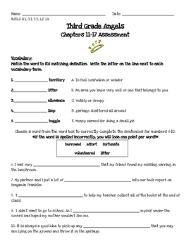 Third Grade Angels chapters 11-17 Assessment
