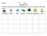 Third Grade Animal Sort