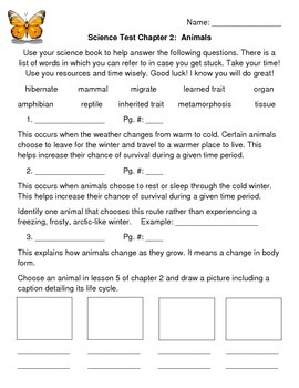 """Third Grade """"Animals"""" Common Core Science Test/Assessment"""