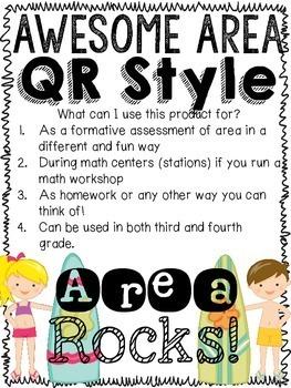 QR Code Third Grade Area Practice