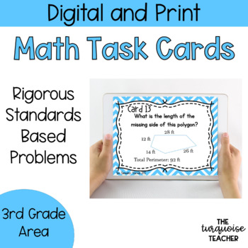 Third Grade Area and Perimeter Task Cards / Google Slides