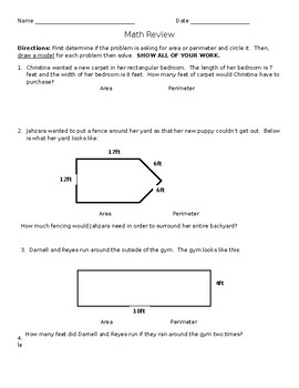 Third Grade Area and Perimeter Word Problems