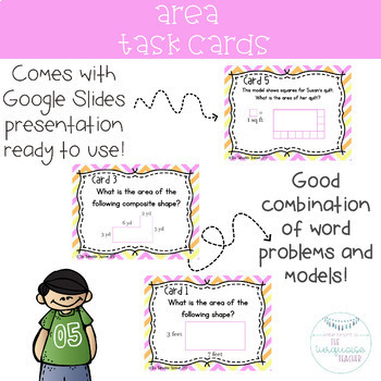 Third Grade Area Task Cards and Google Classroom 3.MD.5 6 7 TEKS 3.6 CD