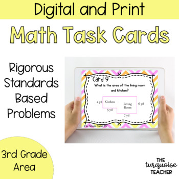 Third Grade Area Task Cards and Google Classroom Slides No Prep