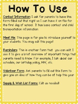 Third Grade Back to School Forms: Can Edit!
