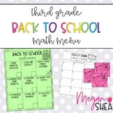 Third Grade Back to School Math Menu