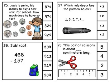 Third Grade Math Review Back to School Clip Cards