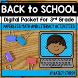 Third Grade Back to School Math and Literacy Digital Packet