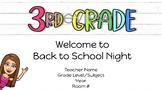 Third Grade Back to School Night Open House Google Slides Template