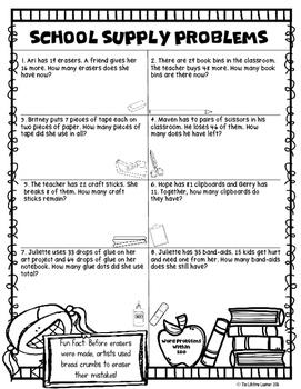 Third Grade Back to School Math Packet
