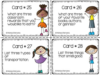 Third Grade Back to School Task Cards